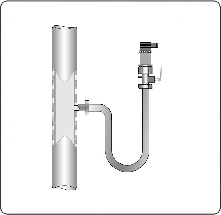 При измерении давления пара, для снижения температуры, воздействующей на мембрану, рекомендуется использовать импульсные трубки. Предварительно импульсная трубка должна быть заполнена водой.